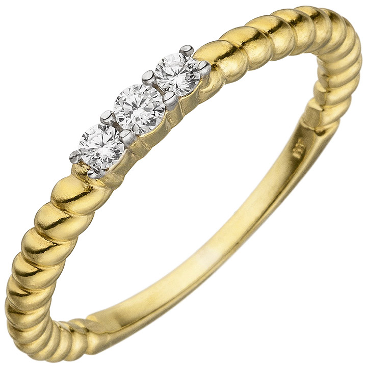 Damen Ring 333 Gold Gelbgold 3 Zirkonia Goldring