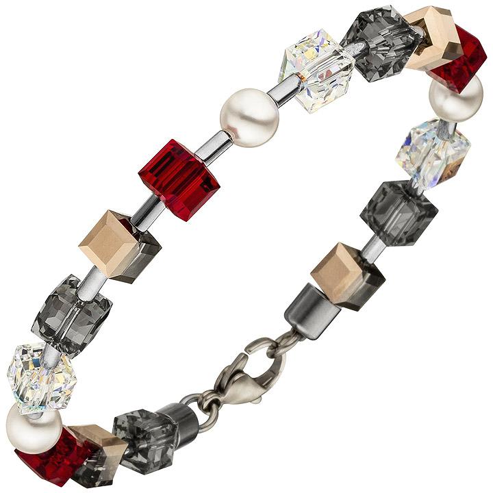 Armband SWAROVSKI® ELEMENTS mit Edelstahl 19 cm