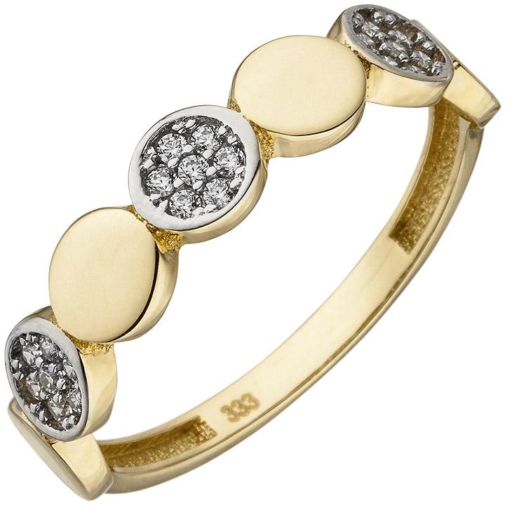 Damen Ring 333 Gold Gelbgold bicolor 21 Zirkonia Goldring