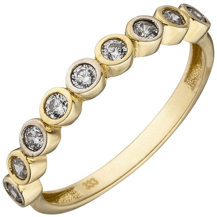 Damen Ring 333 Gold Gelbgold bicolor 9 Zirkonia Goldring
