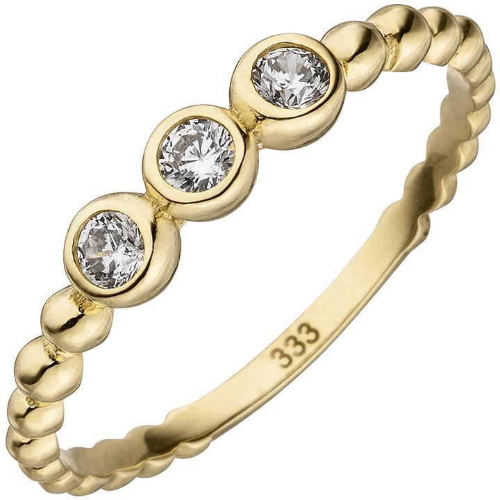 Damen Ring Kugel 333 Gold Gelbgold 3 Zirkonia Goldring Kugelring