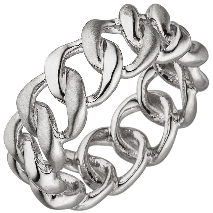 Damen Ring 925 Sterling Silber teil matt Silberring