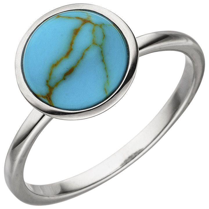 Damen Ring 925 Sterling Silber 1 Türkis-Imitation Silberring