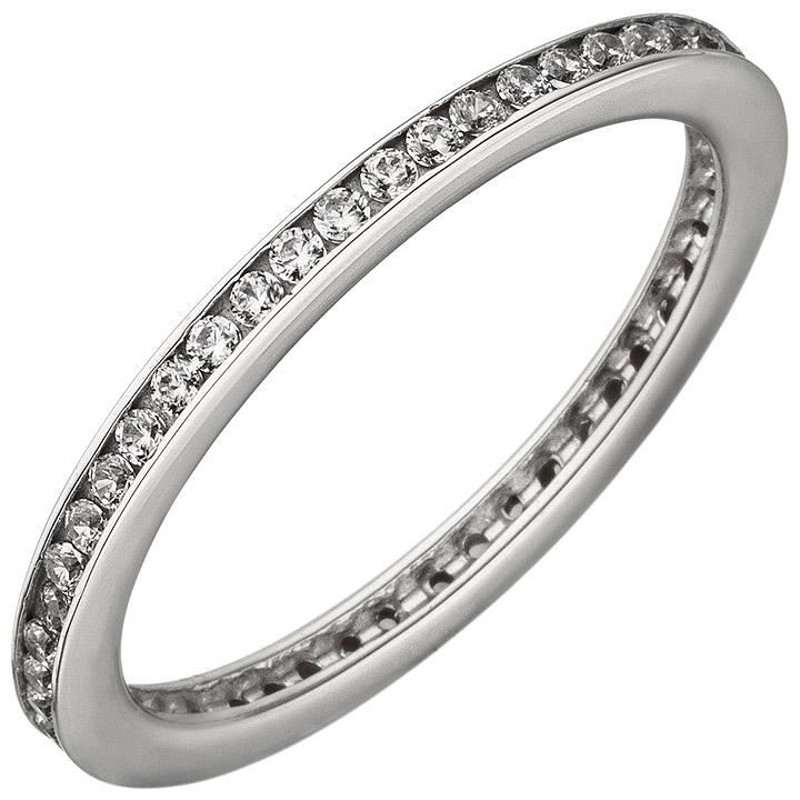 Damen Ring schmal 925 Sterling Silber mit Zirkonia rundum Silberring