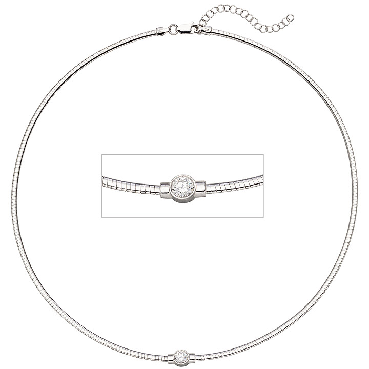 Collier Halskette 925 Sterling Silber 1 Zirkonia 46 cm Kette