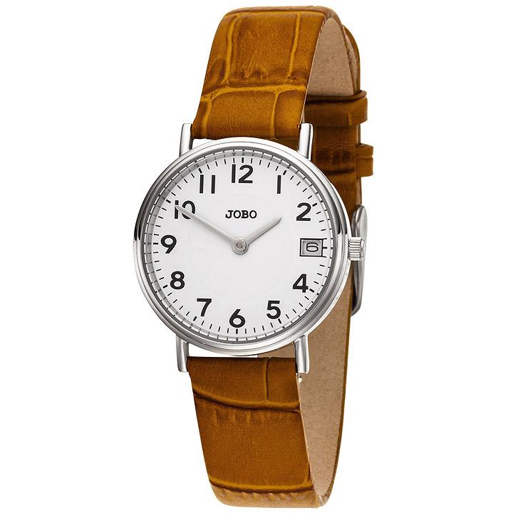 Damen Armbanduhr Quarz Analog Edelstahl Lederband braun Datum Damenuhr
