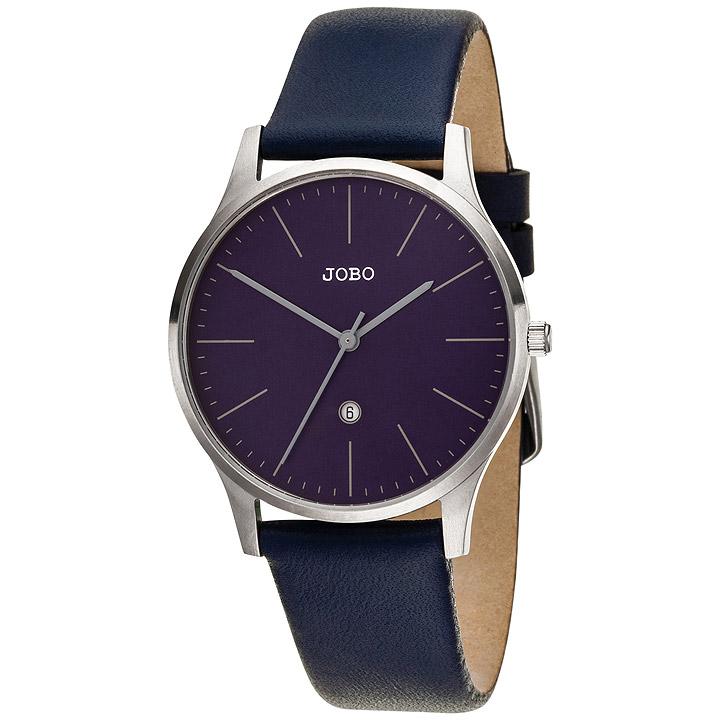 Damen Armbanduhr Quarz Analog Edelstahl Lederband blau Datum Damenuhr