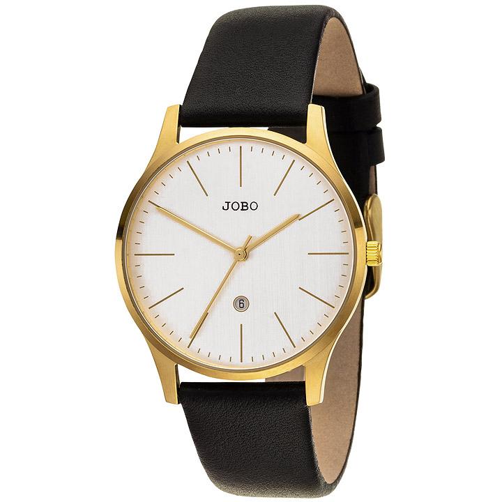 Damen Armbanduhr Quarz Analog Edelstahl vergoldet Lederband Datum