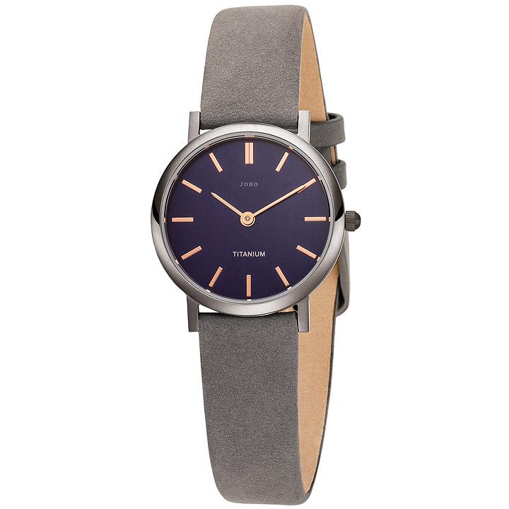 Damen Armbanduhr Quarz Analog Titan Lederband grau