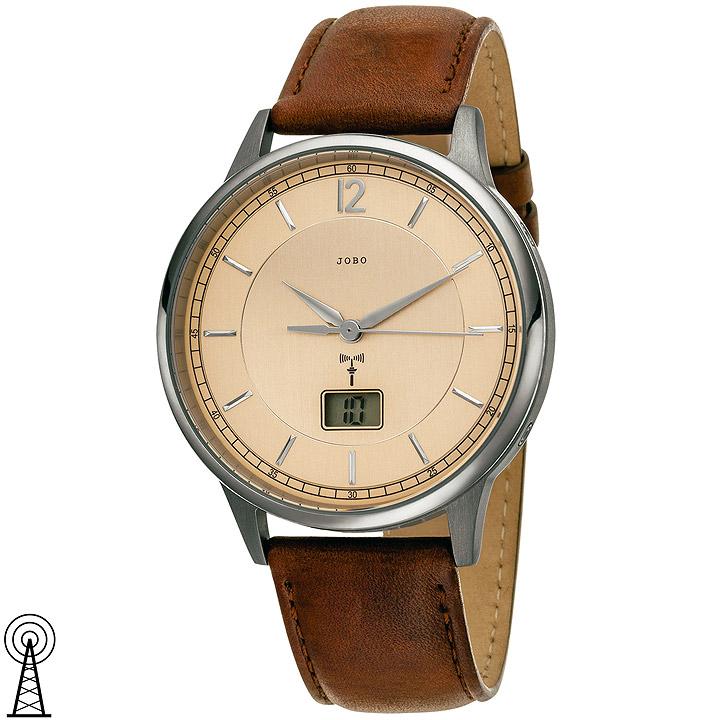 Herren Armbanduhr Funk Titan Lederband braun mit Datum
