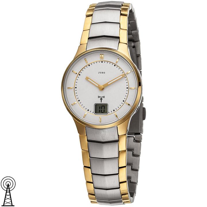 Damen Armbanduhr Funk Edelstahl bicolor vergoldet mit Datum