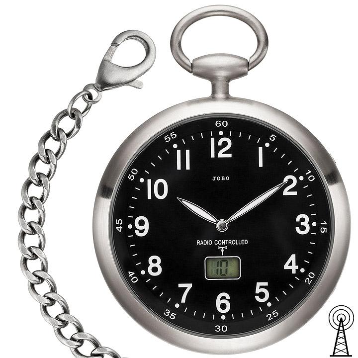 Taschenuhr Funk mit Kette schwarz aus Edelstahl mit Datum
