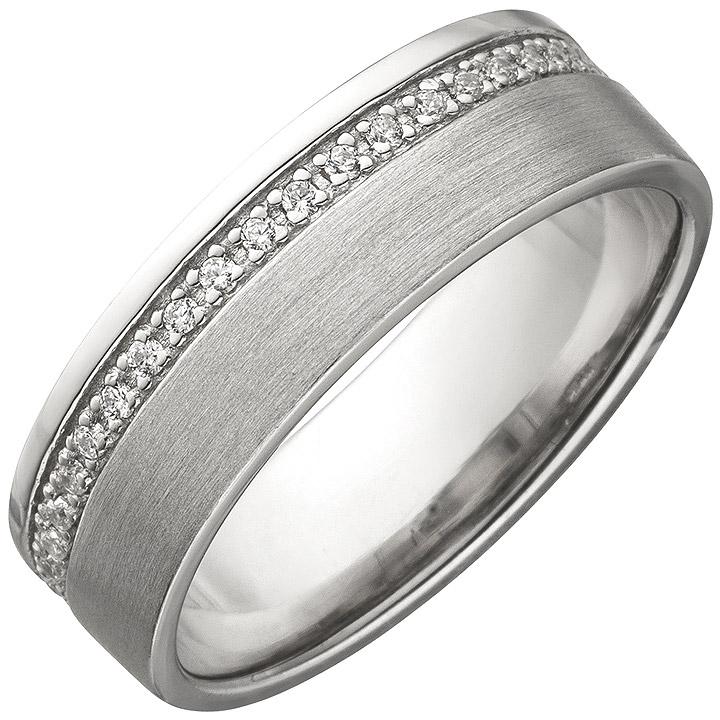 Damen Ring 925 Sterling Silber matt mit Zirkonia rundum Silberring