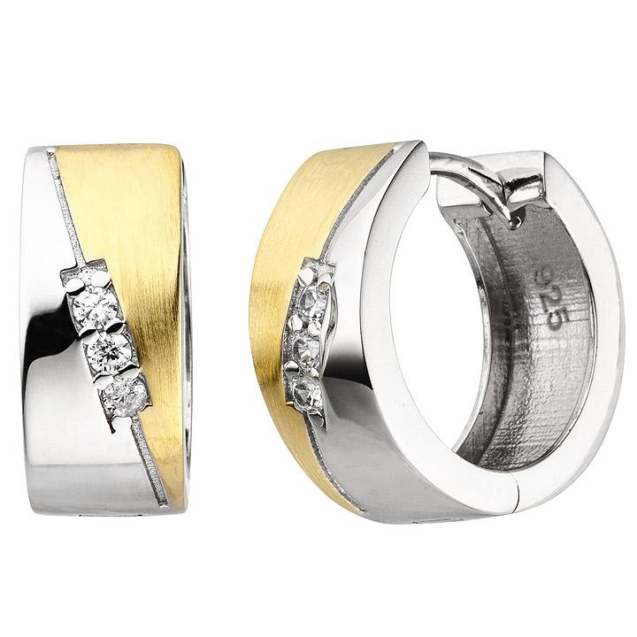 Creolen 925 Sterling Silber bicolor vergoldet 6 Zirkonia Ohrringe