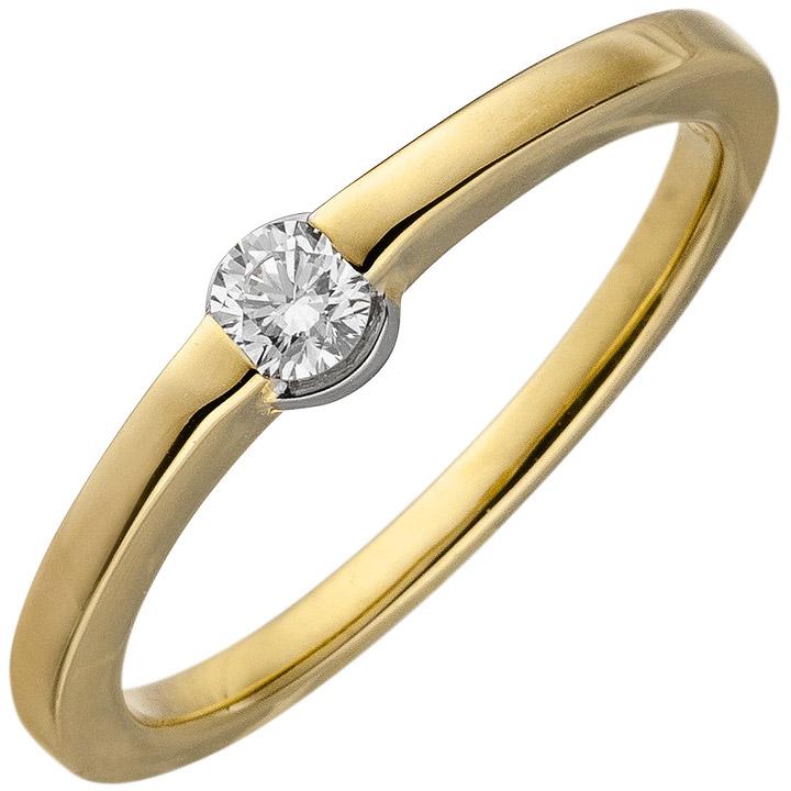 Damen Ring 585 Gold Gelbgold 1 Diamant Brillant 0,15ct. Diamantring