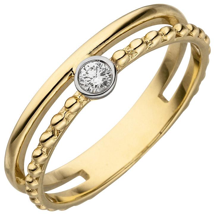 Damen Ring 2-reihig 585 Gold Gelbgold 1 Diamant Brillant 0,07ct. Diamantring