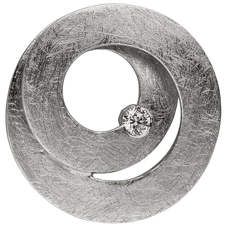 Anhänger 585 Gold Weißgold eismatt 1 Diamant Brillant Diamantanhänger