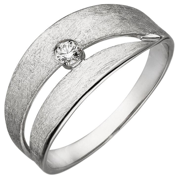 Damen Ring 585 Gold Weißgold eismatt 1 Diamant Brillant 0,09ct. Diamantring