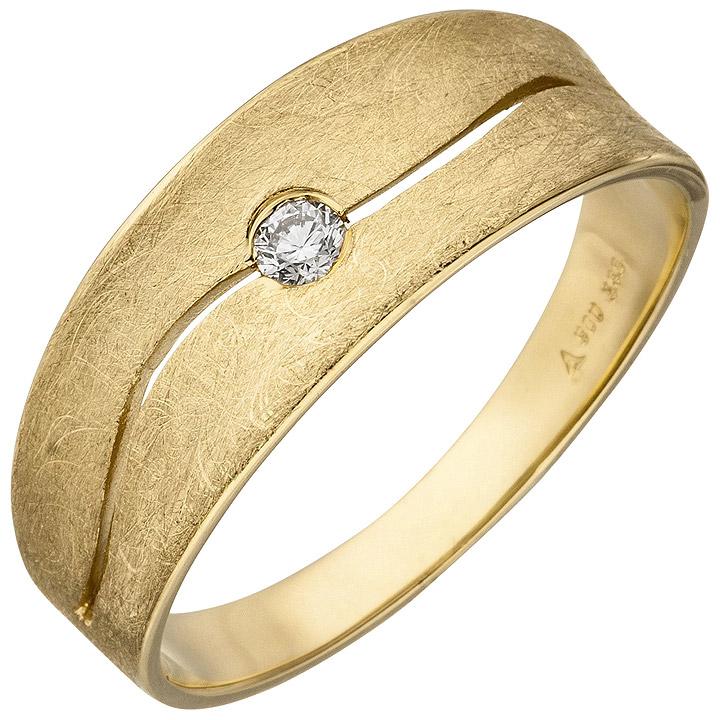 Damen Ring 585 Gold Gelbgold eismatt 1 Diamant Brillant 0,06ct. Diamantring