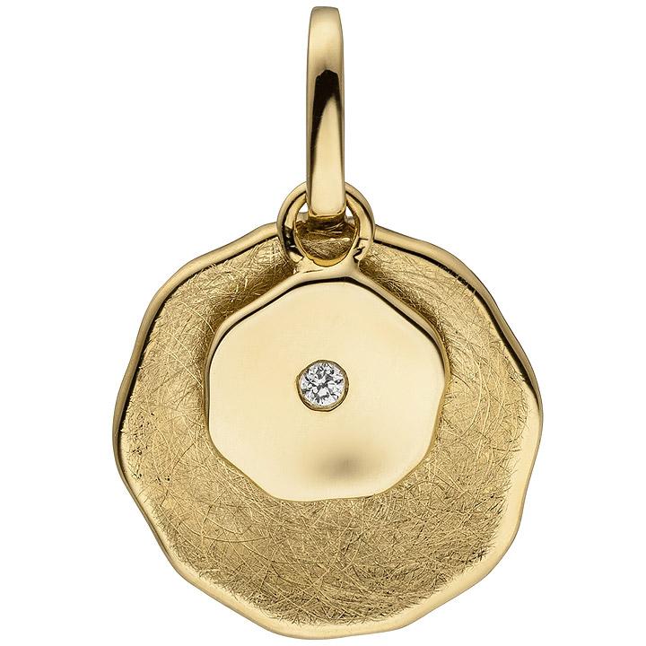 Anhänger 585 Gold Gelbgold eismatt 1 Diamant Brillant Diamantanhänger