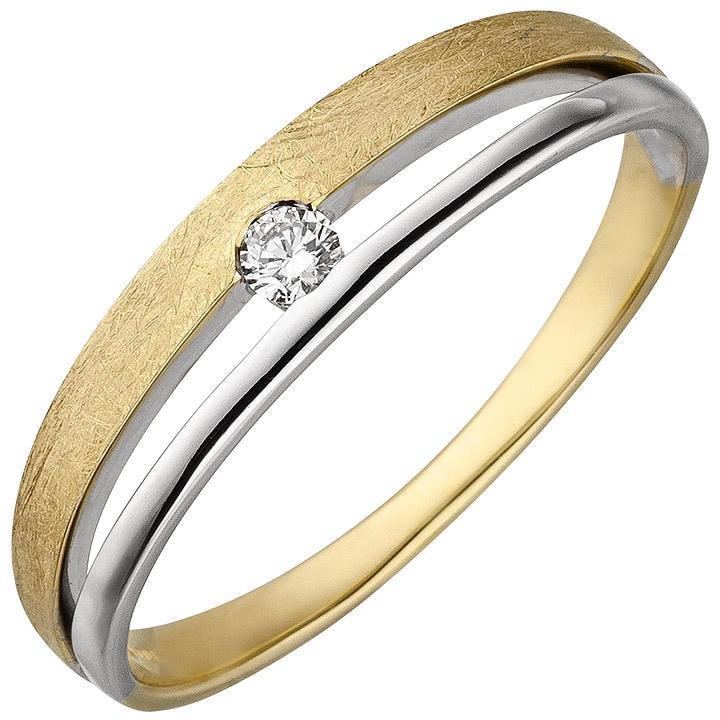 Damen Ring 585 Gold Gelbgold Weißgold bicolor eismatt 1 Diamant Brillant