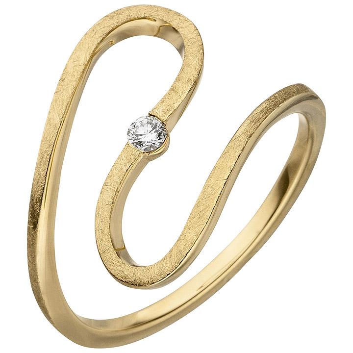 Damen Ring geschlängelt 585 Gold Gelbgold eismatt 1 Diamant Brillant 0,05ct.