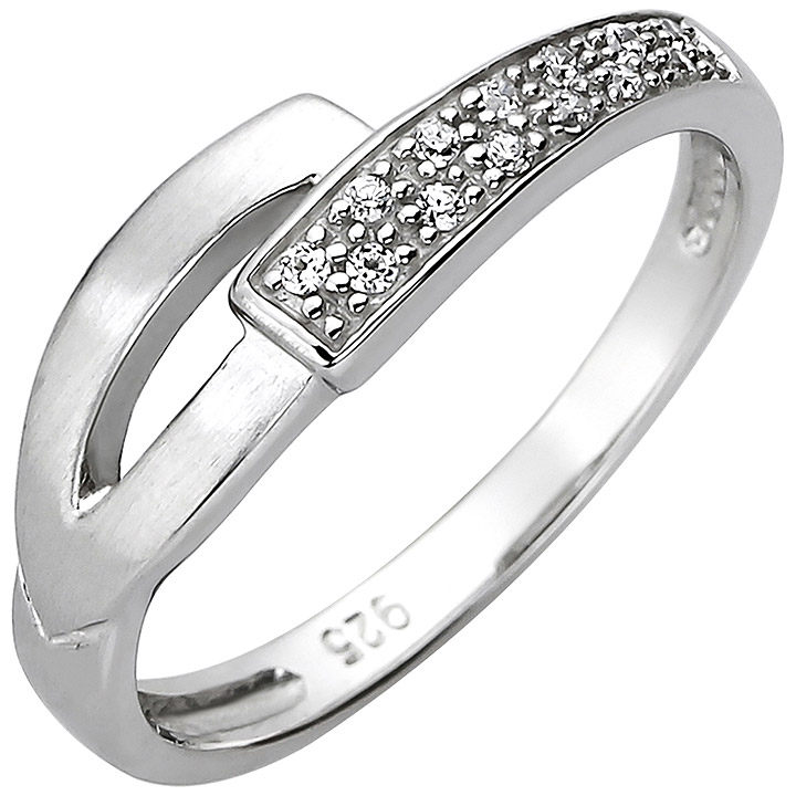 Damen Ring 925 Sterling Silber 13 Zirkonia Silberring