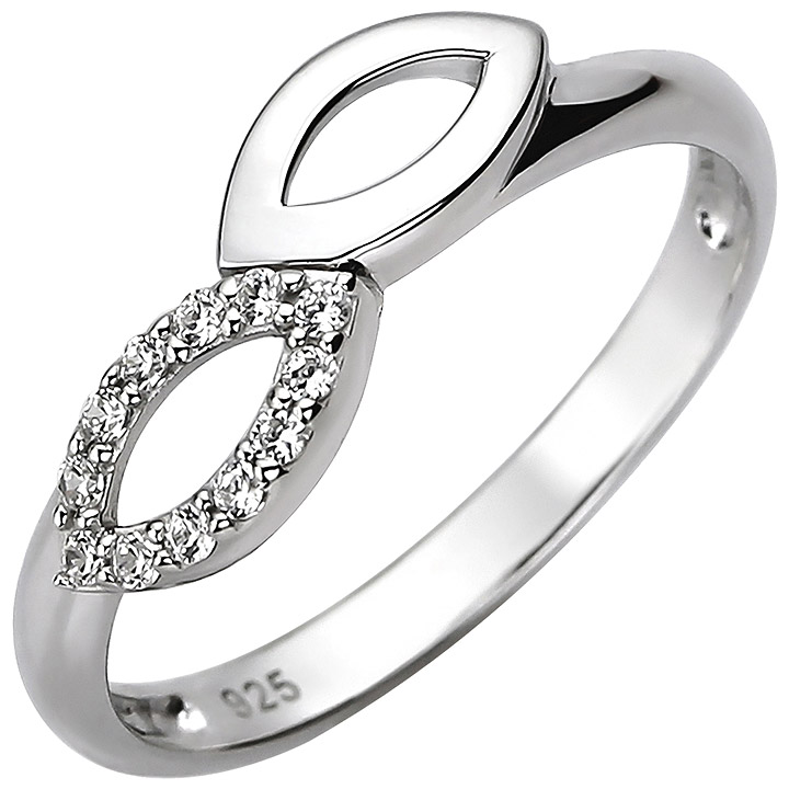 Damen Ring 925 Sterling Silber 12 Zirkonia Silberring