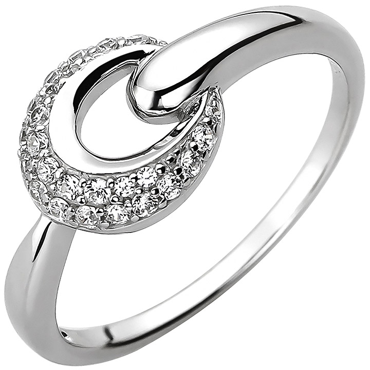 Damen Ring 925 Sterling Silber 25 Zirkonia Silberring