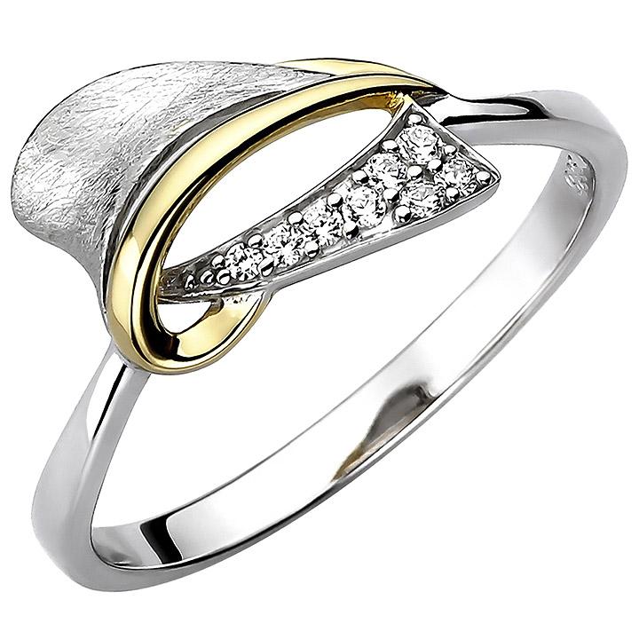 Damen Ring 925 Sterling Silber bicolor vergoldet eismatt 8 Zirkonia Silberring