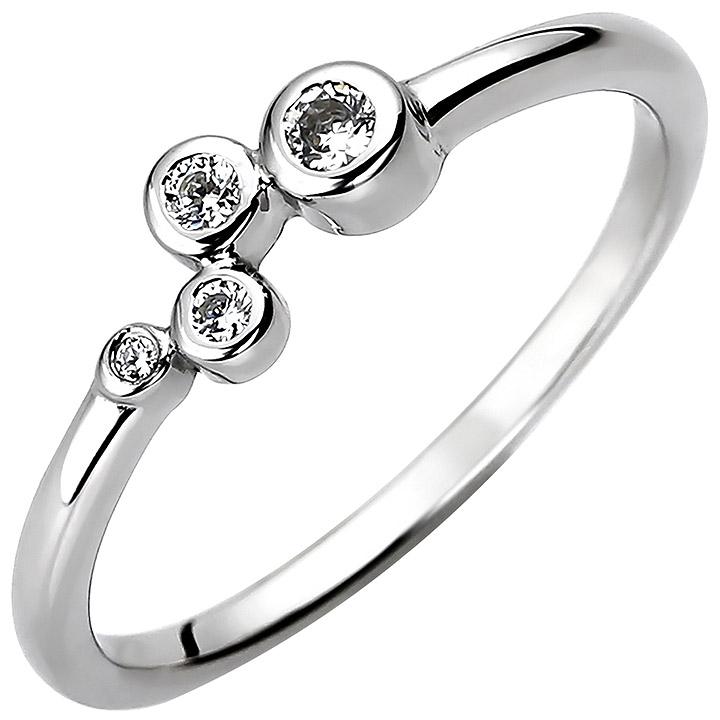 Damen Ring 925 Sterling Silber 4 Zirkonia Silberring