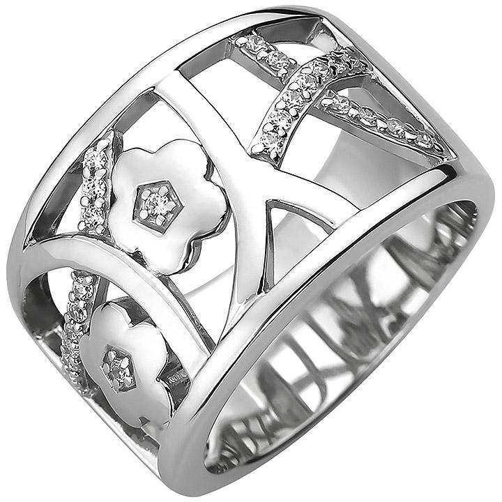 Damen Ring breit 925 Sterling Silber 25 Zirkonia Silberring
