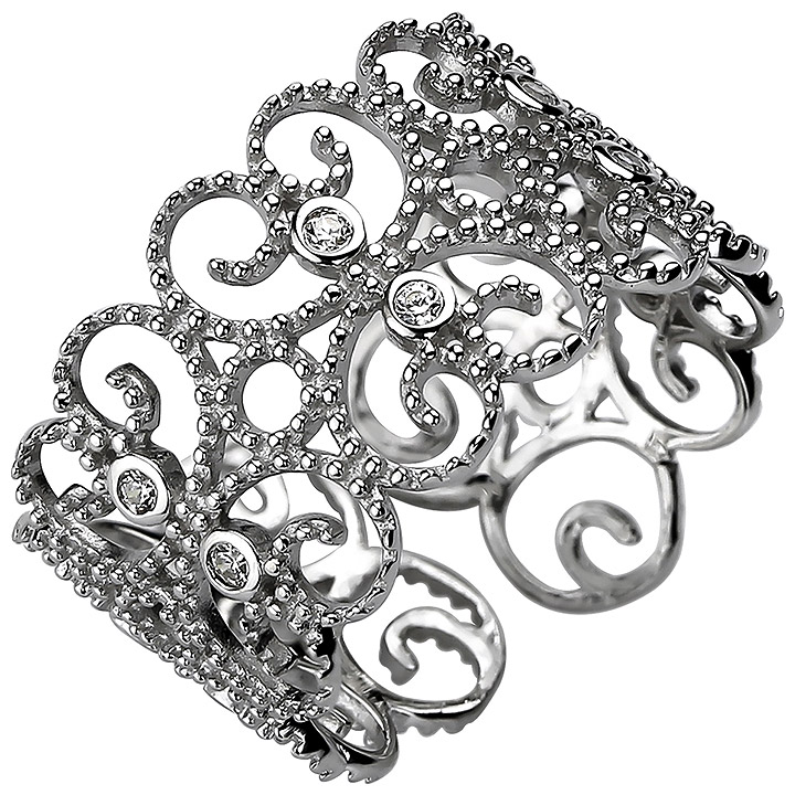 Damen Ring offen 925 Sterling Silber 10 Zirkonia Silberring
