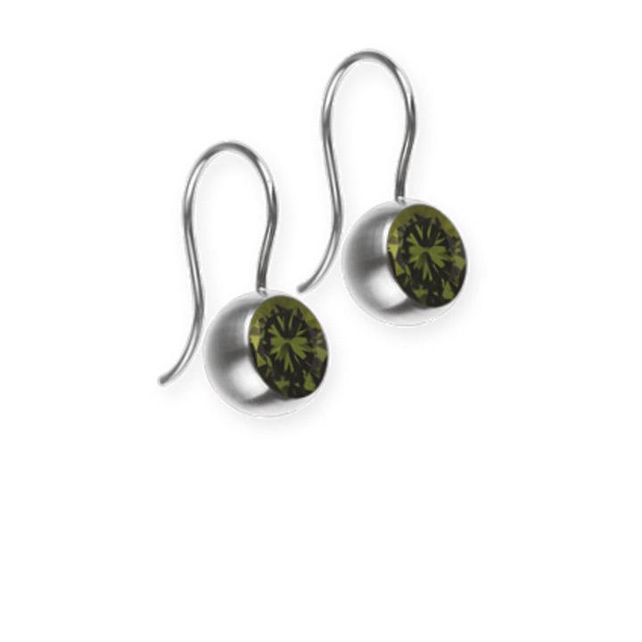 Ohrhänger, Farbstein olive, 6 mm