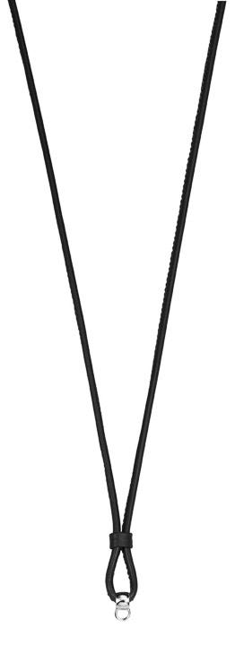 Kette Charm-Öse 925 Silber Soft Leather Black