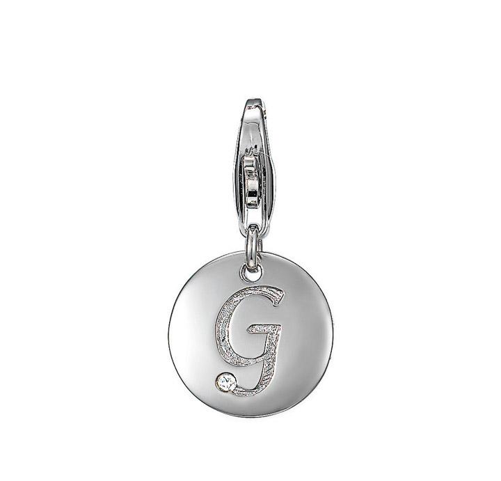 Charm 925 Silber letter G Zirkonia