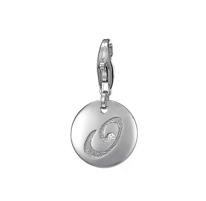 Charm 925 Silber letter O Zirkonia