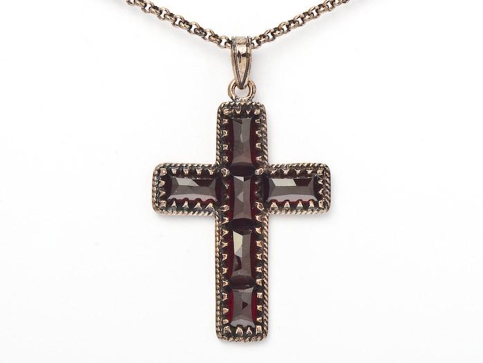 Collier Kette mit Anhänger Granat Kreuz 925