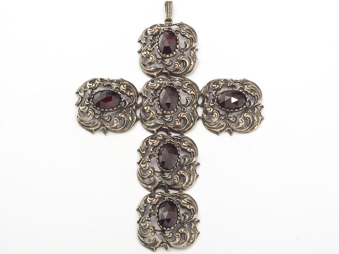Anhänger Granat Kreuz 925