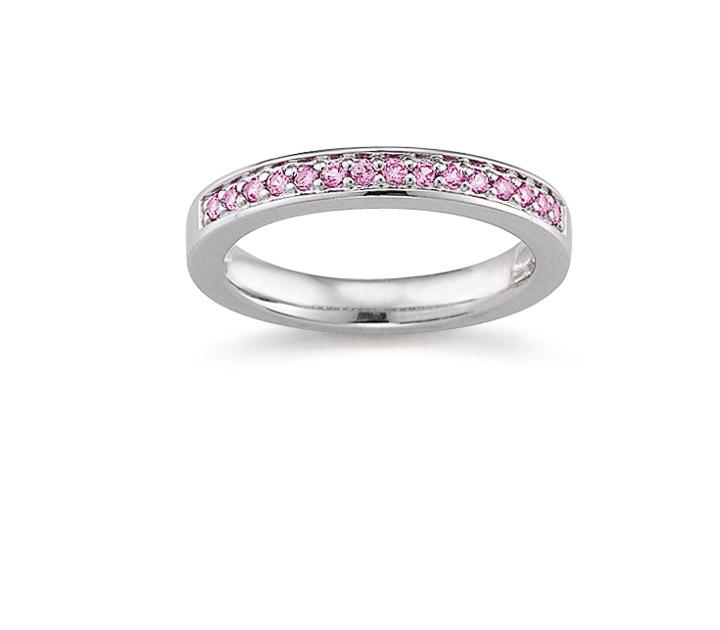 Ring 925 Silber Zirkonia Pink, 54 / 17,2