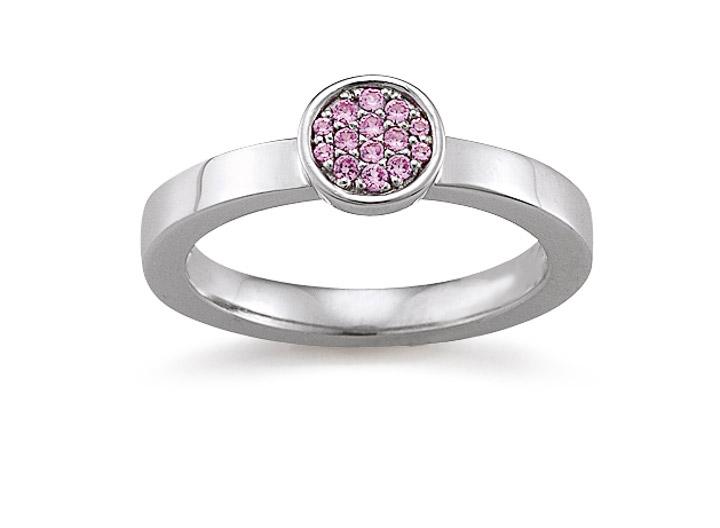 Ring 925 Silber Zirkonia Pink, 55 / 17,5