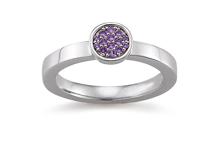 Ring 925 Silber Zirkonia violiett, 54 / 17,2