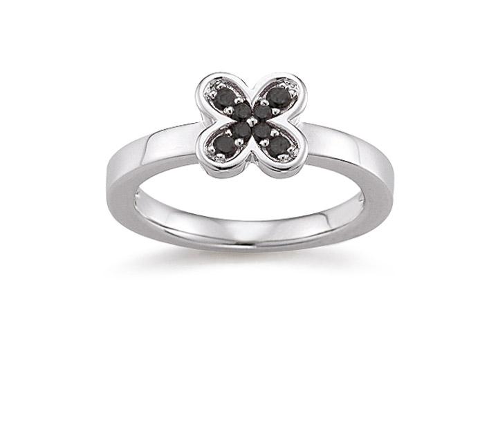 Ring 925 Silber Zirkonia Schwarz, 56 / 17,8