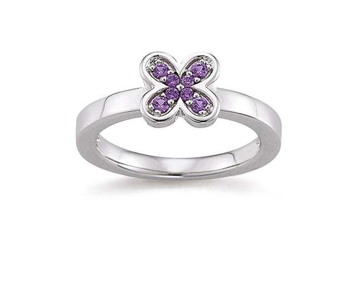Ring 925 Silber Zirkonia violiett, 56 / 17,8