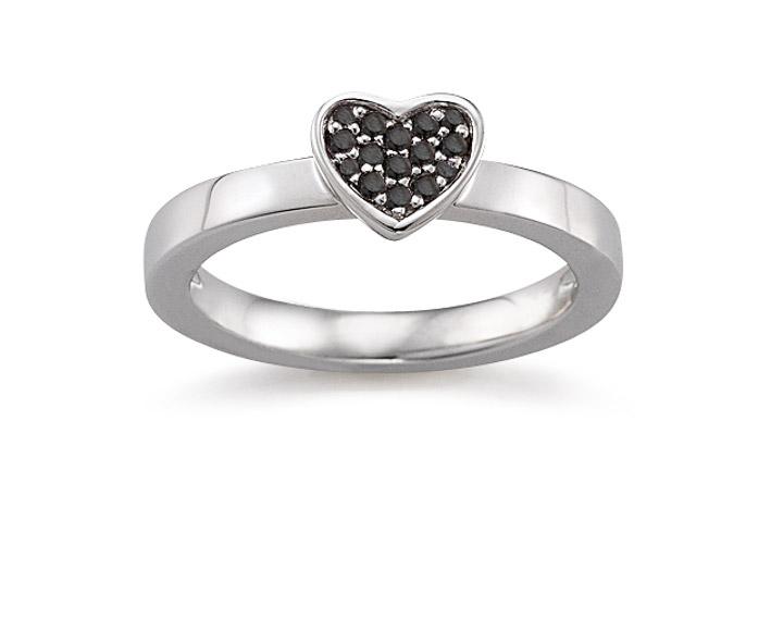 Ring 925 Silber Zirkonia Schwarz, 51 / 16,2