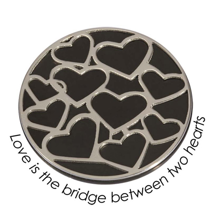 Wechsel-Münze Love is the Brigde between two Hearts, PVD Black Plated, L
