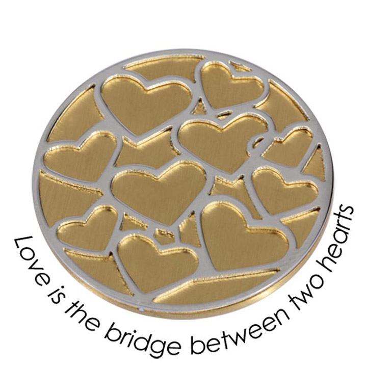 Wechsel-Münze Love is the Brigde between two Hearts, PVD vergoldet, L