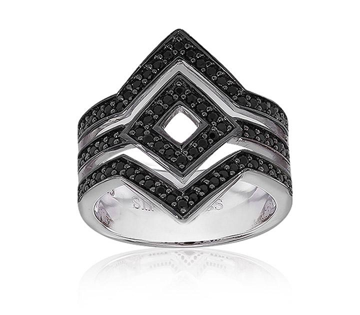Ring 925 Silber Cervia mit schwarzem Zirkonia, 56 / 17,8