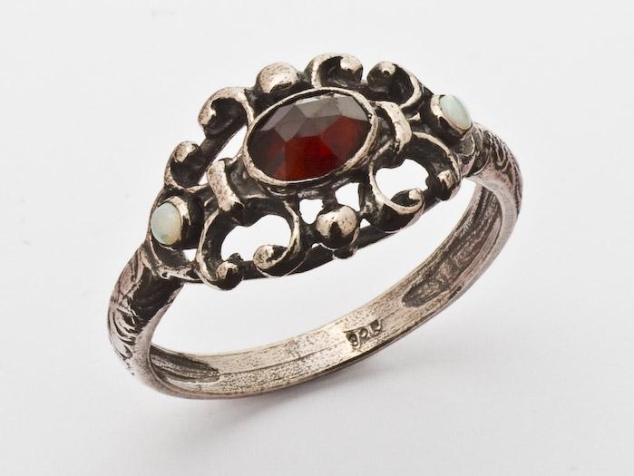 Ring Granat 925 Silber patiniert