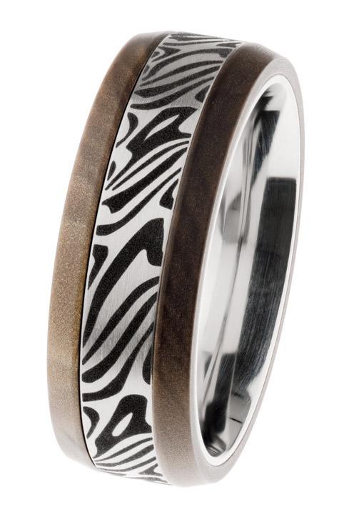 Ring matt/graviert, silk wood braun, Gr. 61